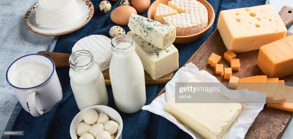 Different types of dairy products : Stock Photo