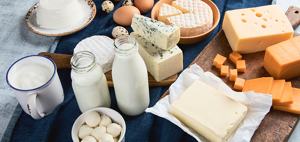 Different types of dairy products 949394412