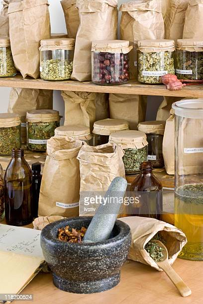 Different types of herbs on shelves
