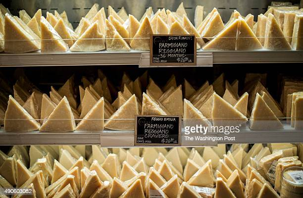 Different types of Parmigiano Reggiano on sale at Eataly in New York City New York Wednesday September 16 2015