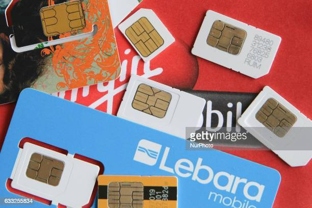 Different types of Polish SIM cards are seen on 1 February 2017 in Gdynia Poland February 1st is the last day that owners of prepaid SIM cards in...