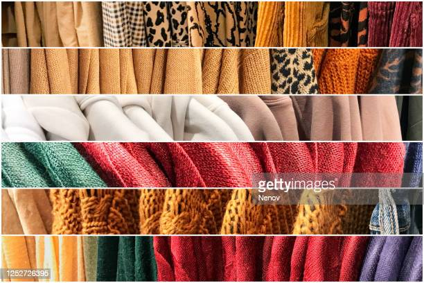 different types of winter sweaters for sale at a nearby store - autumn winter fashion collection stockfoto's en -beelden