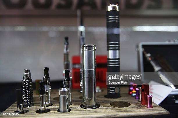 Different vaping pipes or electronic cigarettes are viewed for sale at the newly opened Henley Vaporium on December 19 2013 in New York City The New...
