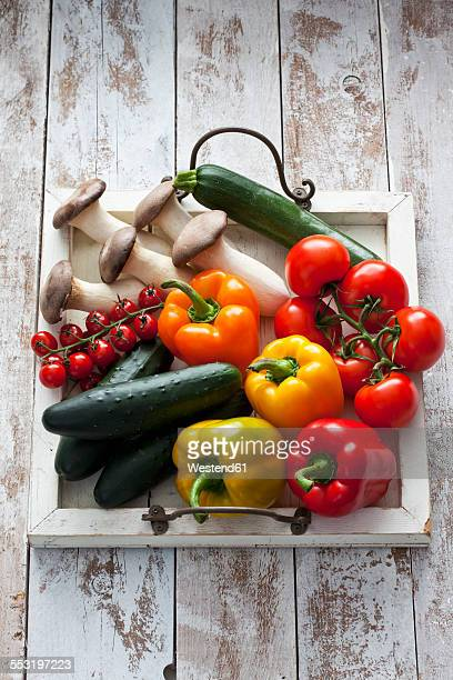 Different vegetables on wood tray