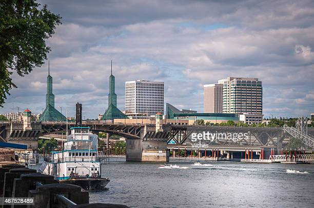 different view of portland, oregon - burnside bridge portland stock photos and pictures