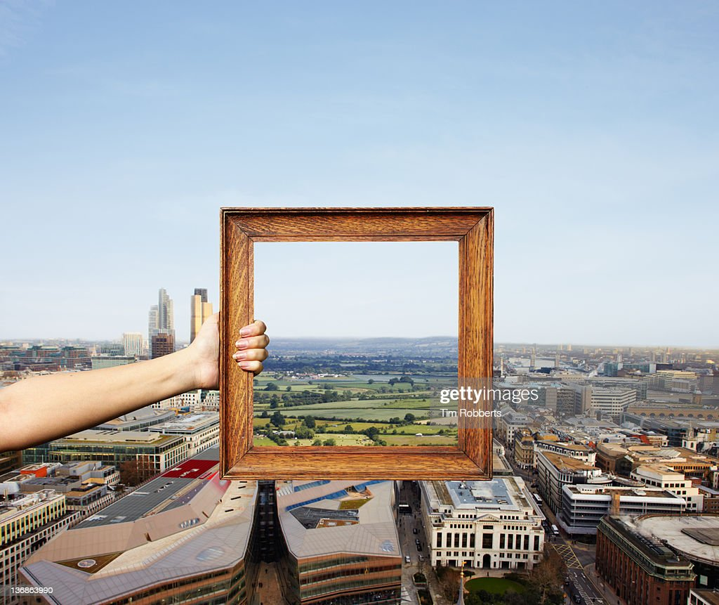 Different views. City vs Countryside. : Stock Photo