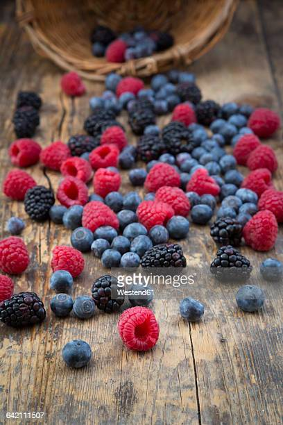 Different wild berries on wood