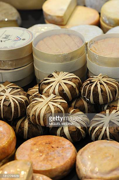 Differents cheeses are displayed at a shop of French gourmet food company Fauchon on October 28 2011 in Paris AFP PHOTO MIGUEL MEDINA