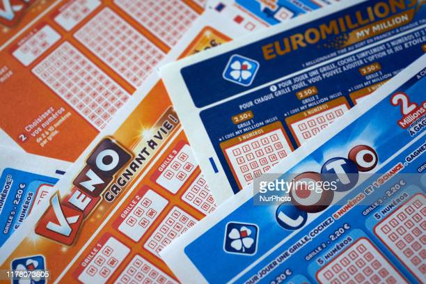 Differents tickets of lottery games by the FDJ : Loto, Euromillions and Keno. The French government, which currently owns 72% of FDJ, has decided to...