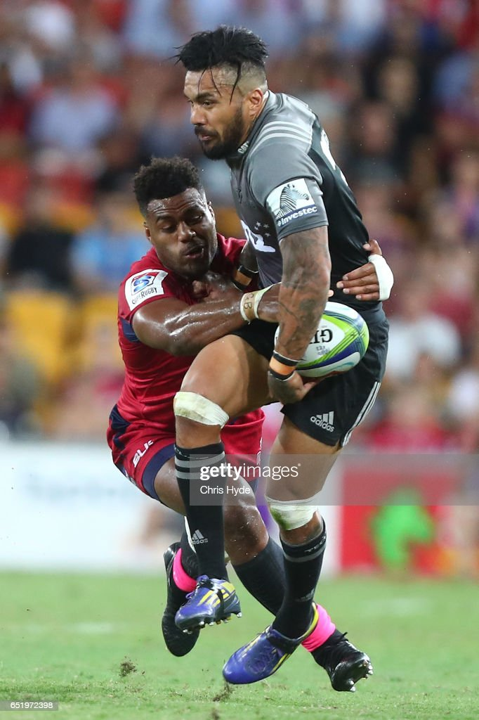 Digby Ioane of Crusaders runs the ball during the round three Super Rugby match between the Reds and the Crusaders at Suncorp Stadium on March 11, 2017 in Brisbane, Australia.