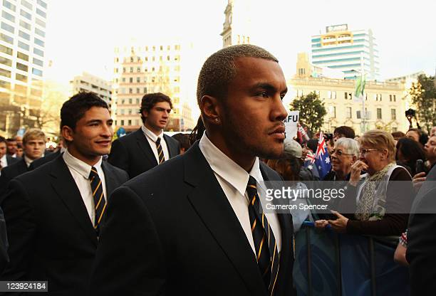 Digby Ioane of the Wallabies attends the Australian Wallabies IRB Rugby World Cup 2011 official team welcome ceremony at Aotea Square on September 6...