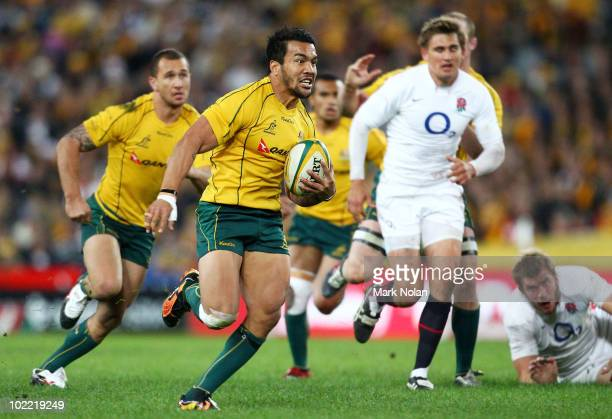 Digby Ioane of the Wallabies makes a line break to set up a try for Matt Giteau during the Cook Cup Test Match between the Australian Wallabies and...