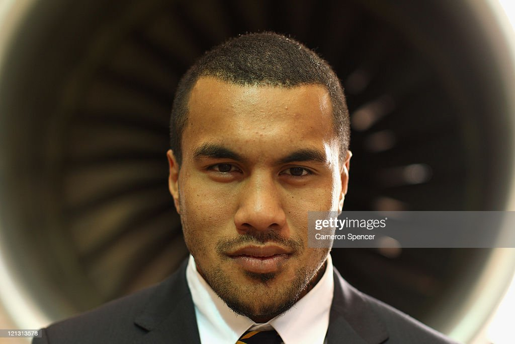 Digby Ioane of the Wallabies poses during an Australian Wallabies 2011 Rugby World Cup Squad portrait session at Sydney International Airport on August 18, 2011 in Sydney, Australia.