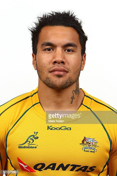Digby Ioane poses for a photo during the Wallabies squad Headshots at the Crowne Plaza at Crown Plaza Coogee on May 30 2010 in Sydney Australia