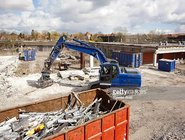 Digger at work at construction site