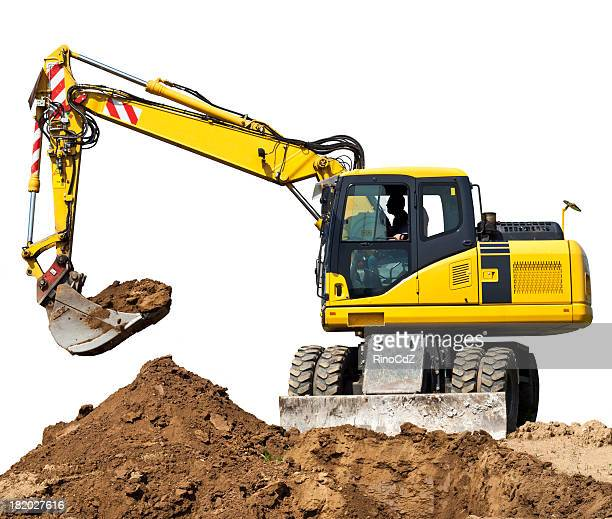 digger isolated on white - excavator stock photos and pictures