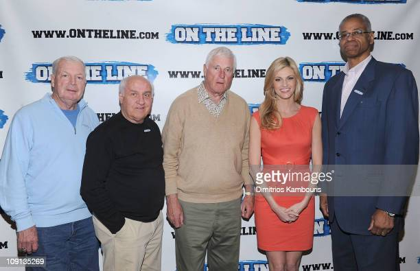 Digger Phelps Billy Packer Bob Knight Erin Andrews and Len Elmore attend the On The Line prostate cancer initiative campaign event at The Millennium...