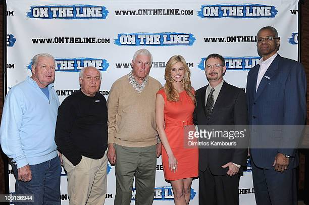Digger Phelps Billy Packer Bob Knight Erin Andrews Steven Andrews and Len Elmore attend the On The Line prostate cancer initiative campaign event at...