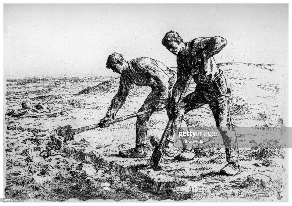 'Diggers', c1835-1875 (1924). Artist: Jean Francois Millet : News Photo