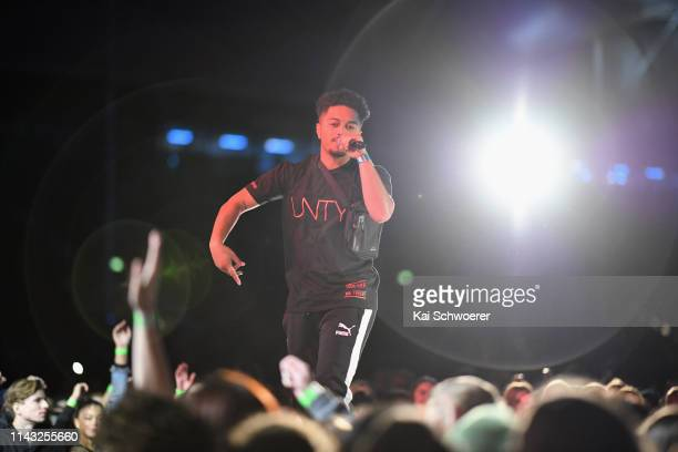 Diggy Dupe performs during the You Are Us/Aroha Nui Concert at Christchurch Stadium on April 17 2019 in Christchurch New Zealand The fundraising show...
