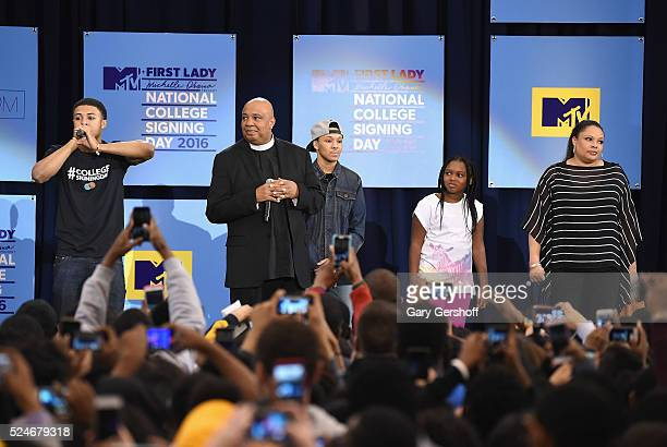 Diggy Simmons Joseph Simmons aka ' Rev Run' Russell Simmons II Miley Justine Simmons and Justine Simmons seen on stage during the 3rd Annual College...