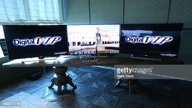 Digital 4k televisions by Samsung are seen on display at the 'Producers Guild Digital VIP Event' held at Soho House on June 6 2014 in West Hollywood...