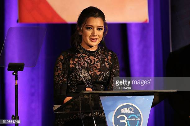 Digital Anchor Antonietta Collins onstage during the 19th Annual National Hispanic Media Coalition Impact Awards Gala at Regent Beverly Wilshire...