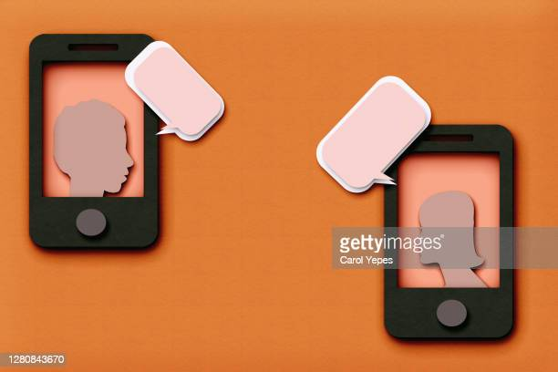 digital and mobile communication concept, friends icon on mobile.. - online dating stock pictures, royalty-free photos & images