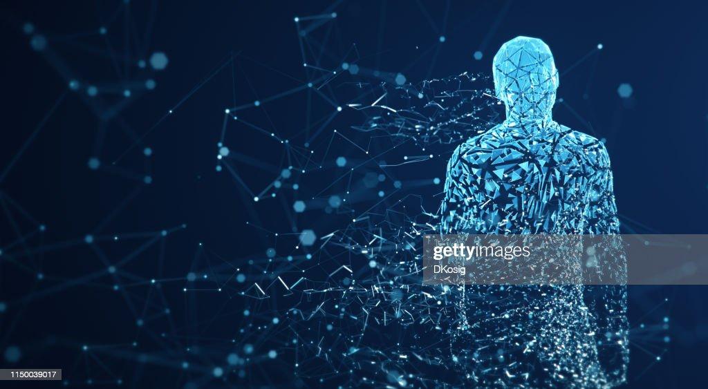 Digital Avatar / Artificial Intelligence (Blue, Copy Space) : Foto stock