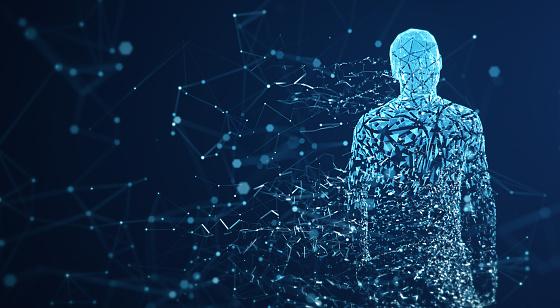 Digital Avatar / Artificial Intelligence (Blue, Copy Space) 1150039017
