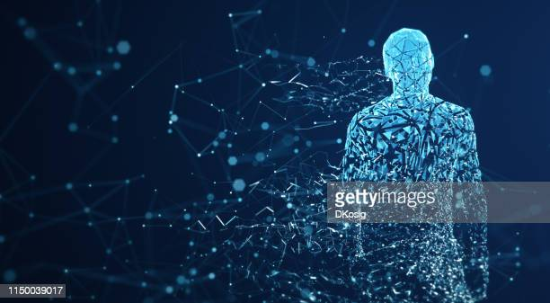 digital avatar / artificial intelligence (blue, copy space) - artificial intelligence stock pictures, royalty-free photos & images