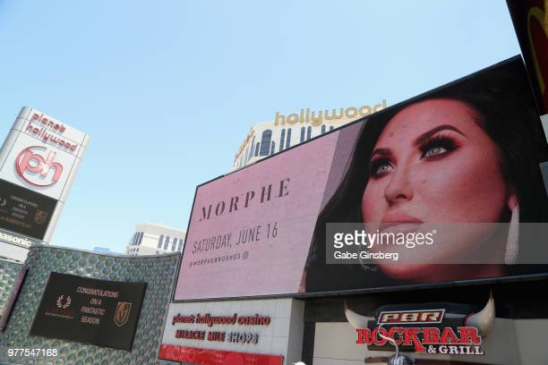 A digital billboard displaying the Morphe store opening at the Miracle Mile Shops at Planet Hollywood Resort Casino on June 16 2018 in Las Vegas...