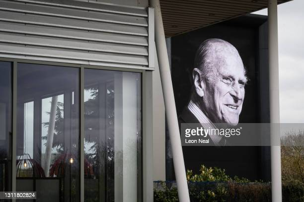 Digital billboard displays a portrait of Prince Philip, Duke Of Edinburgh who died at age 99, on April 10, 2021 in London, United Kingdom. The Queen...