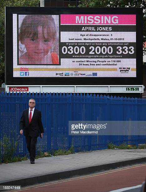 A digital billboard displays a poster of missing child April Jones on October 2 2012 in London England The fiveyearold was abducted from outside her...