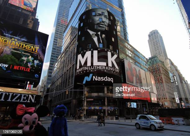 Digital billboards commemorate Martin Luther King, Jr. Day in Times Square on January 18, 2021 in New York City.