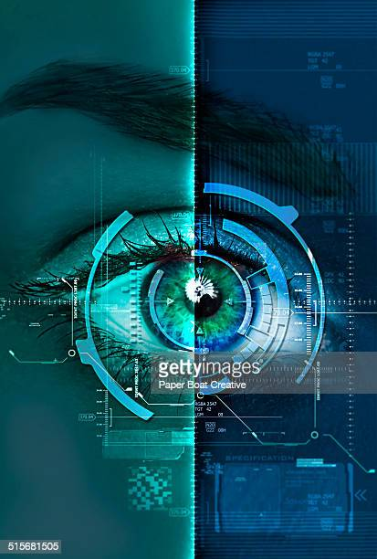 digital blue and green scan of a woman's eye - data privacy stock pictures, royalty-free photos & images