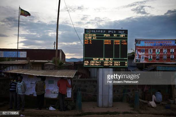 Digital board display coffee and other commodity prices in the center of the village on December 4, 2012 Bonga, Ethiopia. This Kaffa region is known...