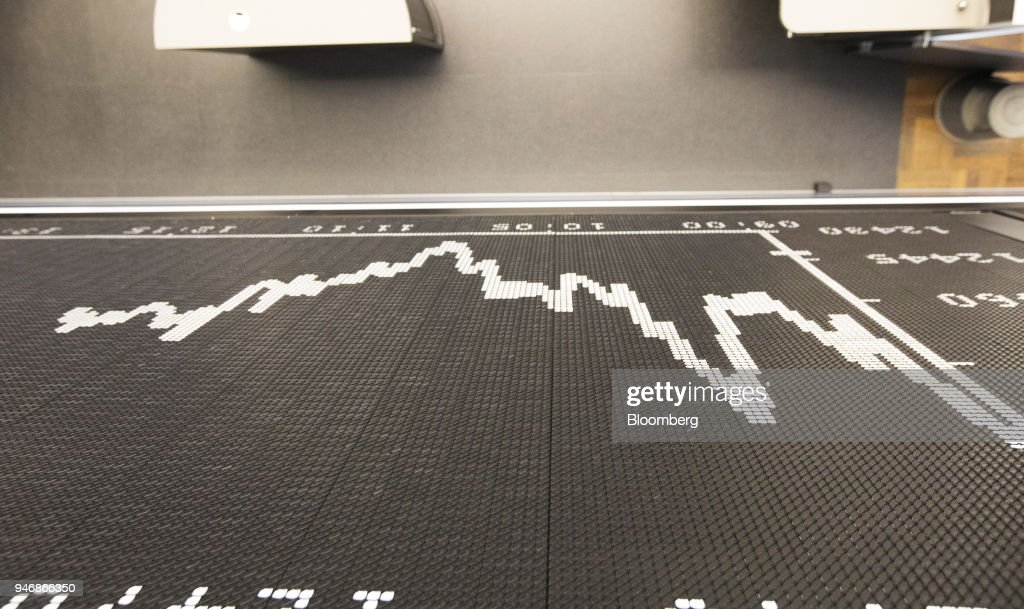 A digital board shows the DAX Index curve at the Frankfurt Stock Exchange, operated by Deutsche Boerse AG, in Frankfurt, Germany, on Monday, April 16, 2018. Bonds declined, stocks were steady and oil fell on anticipation that the fallout from missile strikes in Syria will be limited. Photographer: Alex Kraus/Bloomberg via Getty Images