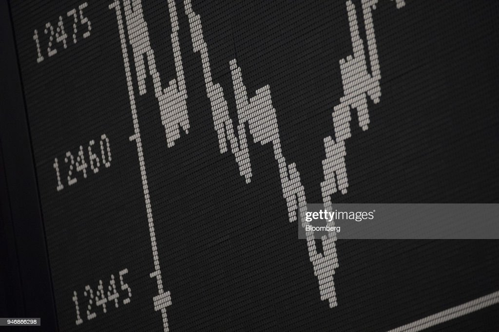 A digital board shows the DAX Index curve inside the Frankfurt Stock Exchange, operated by Deutsche Boerse AG, in Frankfurt, Germany, on Monday, April 16, 2018. Bonds declined, stocks were steady and oil fell on anticipation that the fallout from missile strikes in Syria will be limited. Photographer: Alex Kraus/Bloomberg via Getty Images