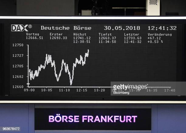 A digital board shows the DAX Index curve inside the Frankfurt Stock Exchange operated by Deutsche Boerse AG in Frankfurt Germany on Wednesday May 30...