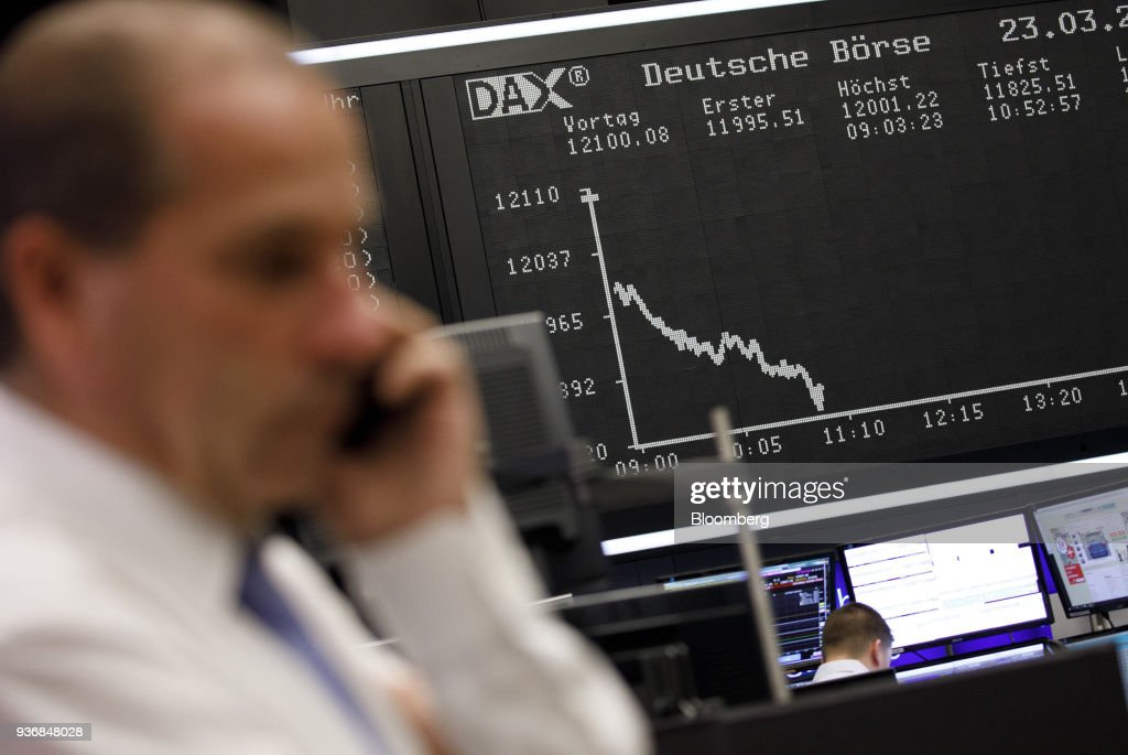 Trading Inside Frankfurt Stock Exchange As European Stocks Slide Following U.S Tariffs Against China