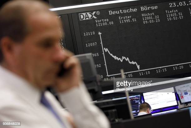 A digital board shows the dip of the DAX Index curve at the Frankfurt Stock Exchange operated by Deutsche Boerse AG in Frankfurt Germany on Friday...