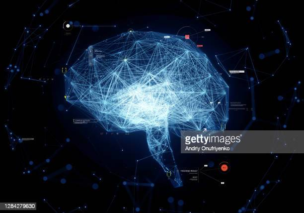digital brain - infographics stock pictures, royalty-free photos & images