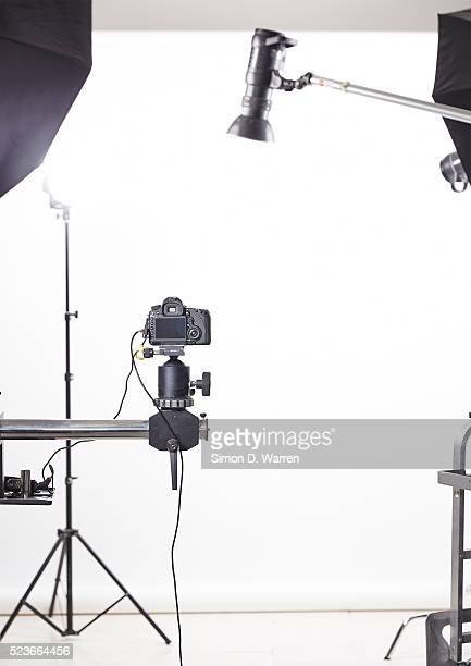 Digital camera and lamps in studio