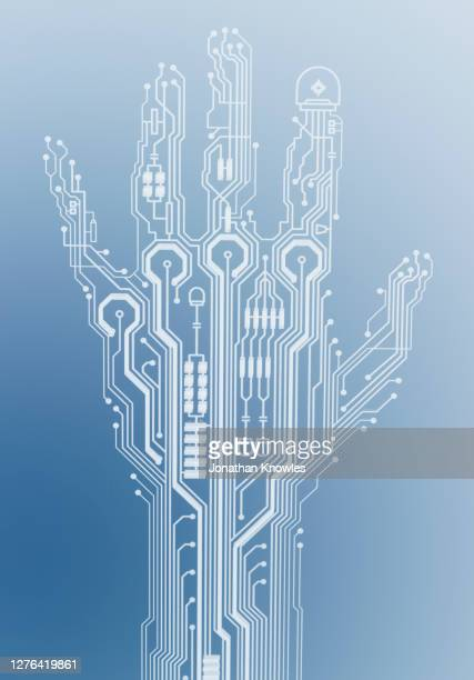 digital circuit board hand - art stock pictures, royalty-free photos & images