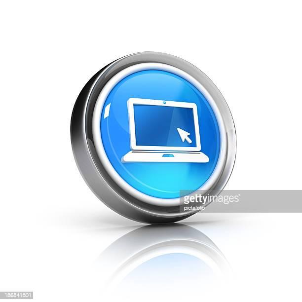 A digital circular icon featuring a laptop computer