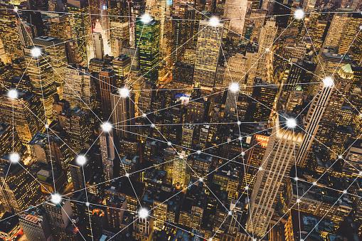 Digital City and Blockchain of Manhattan - gettyimageskorea