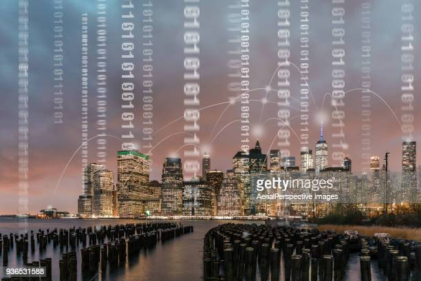 digital city of manhattan - blockchain stock pictures, royalty-free photos & images