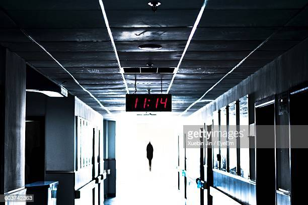 Digital Clock Hanging From Ceiling At Hospital