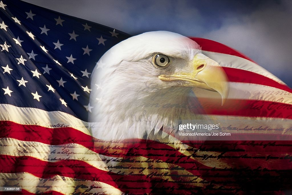 Digital composite: American bald eagle and flag is underlaid with the handwriting of the US Constitution : Stock-Foto